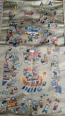 Antique Chinese Silk Hand Embroidered Wall Hanging 100 Children S Tapestry