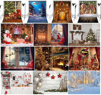 US STOCK 10X10FT 5X7FT Vinyl Photo Background Studio Backdrop XMAS Fireplace HOT