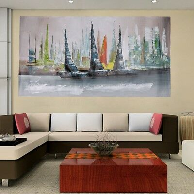 Modern Abstract Large Home Wall Decor Boat Painting On Art Canvas No Framed New
