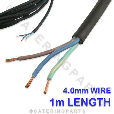 1 x METRE OF 3 CORE 4.0mm H07RNF BLACK RUBBER MAINS FLEX WIRE 3G 4.0 FOR FRYERS