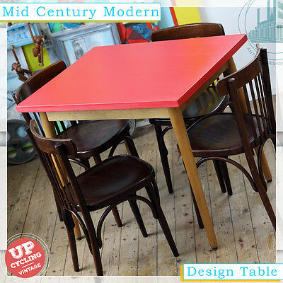 RED VINTAGE MID CENTURY MODERN DINING TABLE ESS TISCH 50s 60s DESIGNCLASSIC
