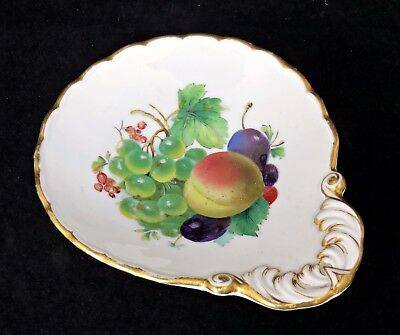 Small Antique 1St Quality Meissen Porcelain  Dish, Painted With Fruit, 5 1/4""