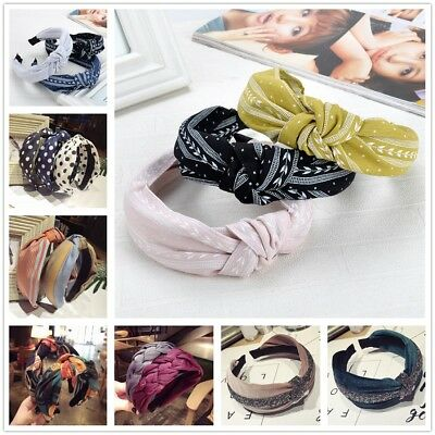 Women Girls Sweet Bowknot Wide Hairband Solid Headband Fashion Hair Accessories