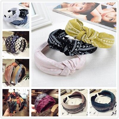 Women Sweet Bowknot Cross Knot Wide Headband Girl Boho Hairband Hair Accessories