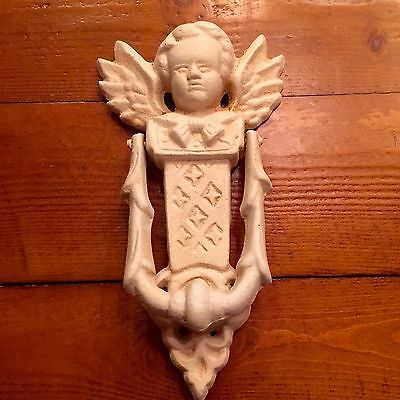 Cast Iron Winged Angel Cherub Door Knocker Vintage Victorian Shabby White 8""
