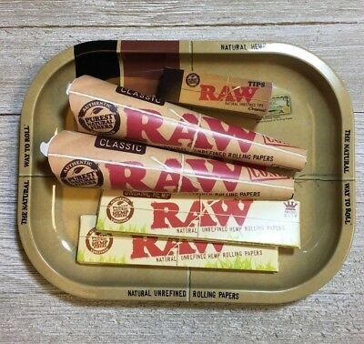 Raw Rolling Tray With Pre Rolled Cones & Hemp Rolling Papers - Full Kit!