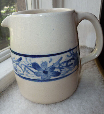 CASEY POTTERY HAND MADE IN USA MARSHALL TEXAS CREAM PITCHER Blue Floral Design & VINTAGE Marshall Pottery Company - Texas - Handled Bowl- Blue ...