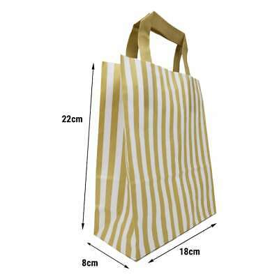 5 x Gold & White Striped Party Gift Bags With Coloured Flat Handles -18x 22x 8cm