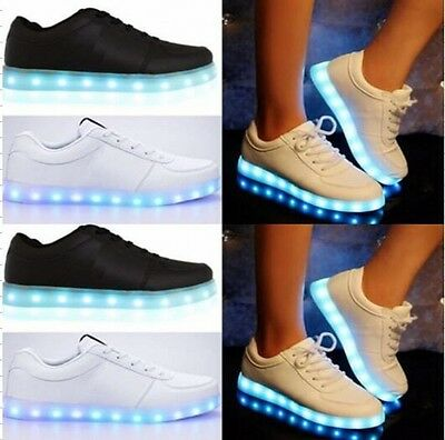 Uk Ladies Women Light Up Led Luminous Lace Up Trainers Celeb Sneakers Shoes Size