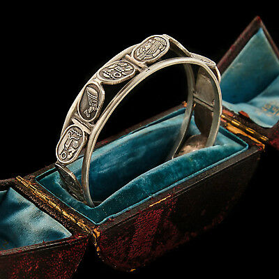 Antique Vintage Deco 800 Sterling Silver English Egyptian Revival Cuff Bracelet