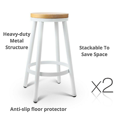 2 x Metal Stool Wooden Seat Stackable Cafe Bistro Office Bar Kitchen Round White