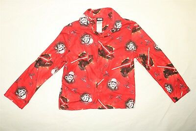 STAR WARS Boy's Long Sleeve Button Up Sleep Shirt RED MULTI Size 8 NWOT