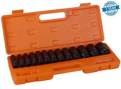 "13pcs 10-32mm 1/2"" Metric Impact Deep Socket Set Drive Air Garage"