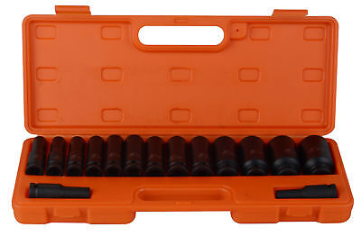 "15pcs 10-32mm 1/2"" Impact Socket Set Metric Imperial Drive Air Garage Deep AU"