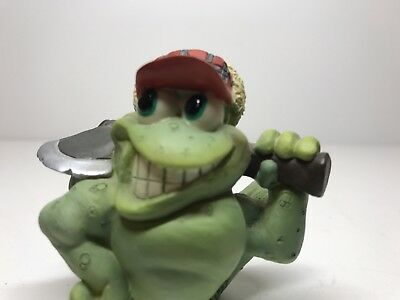 Frog Figurine with Axe & Red Hat 2-1/4""