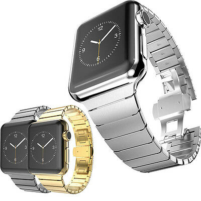 Stainless Steel Strap Butterfly Lock Link Bracelet Band For Apple Watch Series 3