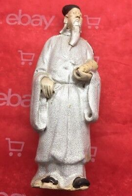 Very Old Antique Chinese Porcelain Figure Of Immortal . Cracked And Fixed AS IS