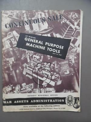1947 War Assets Administration WWII Surplus Machine Tools Catalog Detroit WAA