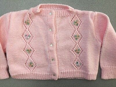 Vintage Handmade Pink Sweater 3-6 Mo. Diamond Design & Flowers On Front Exc Cond