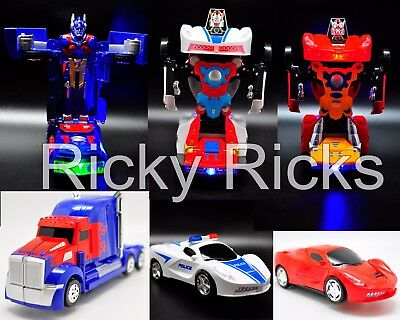 Light Up Transformers Bump And Go Car LED Police Autobot Truck Toy Action Sound