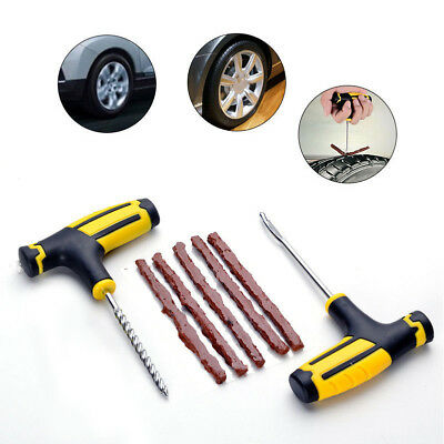 Car Tubeless Flat Tire Repair Kit Tool Rubber Rasper Needle Patch Fix Sets New