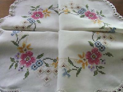 Beautiful Hand Embroidered Vintage Tablecloth - A Mix of Cross Stitch Florals