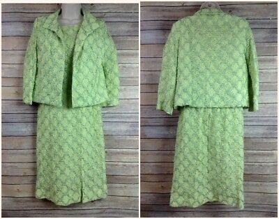 Vintage 1950s 60s Elinor Gay Original Lime Green 2 Pc Suit Career Holiday Dress