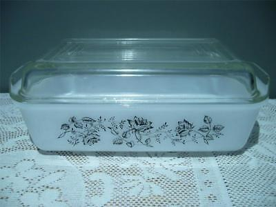 Black & White Roses Agee Pyrex Oblong Baking Dish & Lid - O-Cob4Oo-Cu - Vintage
