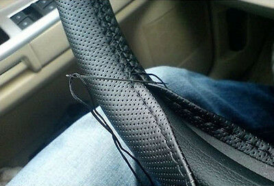 US Car Truck PU Leather Steering Wheel Cover With Needles and Black Thread DIY