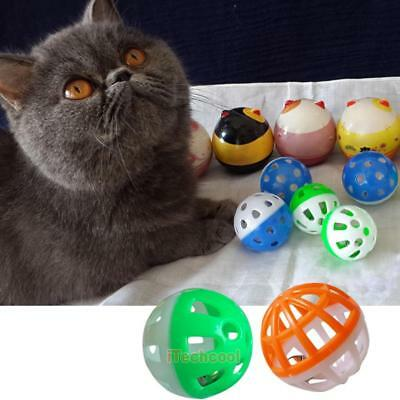 18Pcs Pet Cat Kitten Play Balls With Jingle Bell Pounce Chase Rattle Toy #T1K
