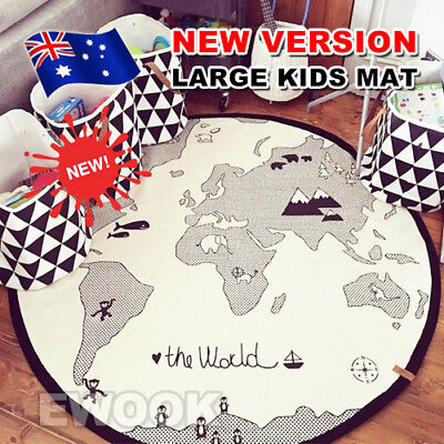 Children Kids Game Play Mat Baby Crawling Rug Carpet Cotton Blanket Playmat OZ