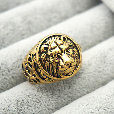 Vintage Lion Head Rings Stainless Steel Gold Plated Mens' Ring Size 7 - 13