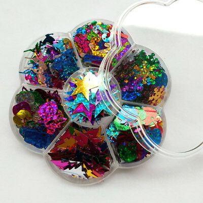1 Box Rainbow Snowman Deer Snowflake for Christmas Clothes Jewelry Sequins