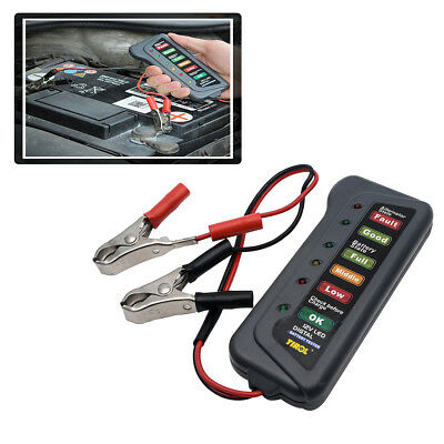 12V Digital Battery Alternator Tester 6LED Lights Car Motorcycle Diagnostic Tool