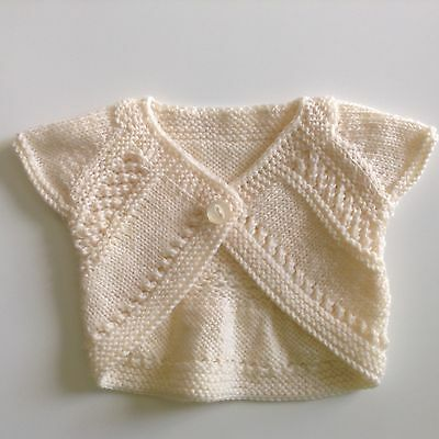Baby hand knitted jacket Pure wool Patons Dreamtime 0-6 mths Cream Unusual Girl