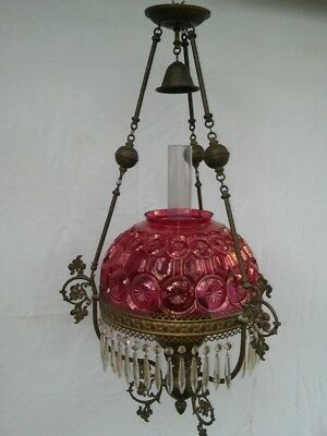 Ruby Red Glass Moon & Stars Pattern Hanging Duplex Oil Lamp c. 1880 Victorian