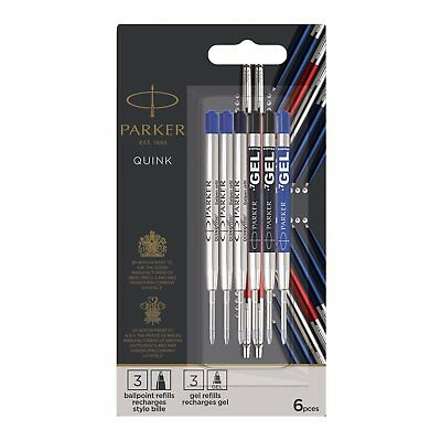 Parker Quink Ink Ballpoint & Gel Pen Refills - Pack of 6 - Parker Pen Gel Refill