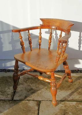 Victorian Smokers Bow or Captains Chair, Elm/Beech - large seat, wide arms