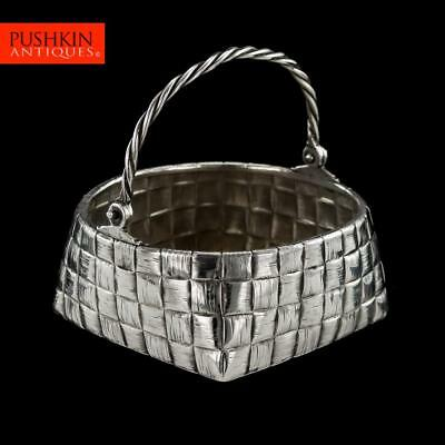 ANTIQUE 20thC RUSSIAN TROMPE L'OEIL SOLID SILVER BASKET, ST-PETERSBURG c.1900