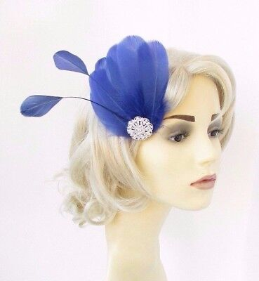 Royal Blue Silver Feather Fascinator Hair Clip Races Headpiece Vtg 1920s 4641