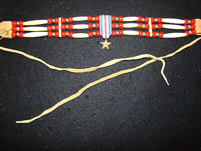 Native American Silver Star Choker NEW Osage Sioux Cherokee Red Beads Long