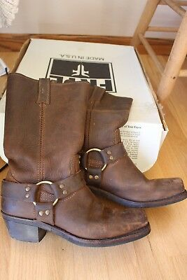 Frye 77300 Harness Brown Leather Biker Riding Motorcycle Boot