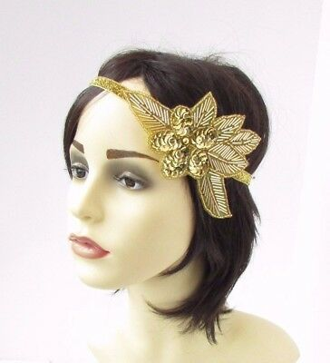 Gold Sequin Beaded Headband Headpiece Vintage 1920s Great Gatsby Flapper 4644