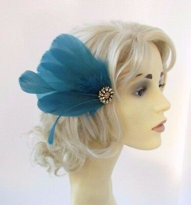 Teal Blue Green Gold Feather Fascinator Hair Clip Races Headpiece Vtg 1920s 4645
