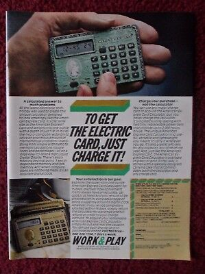 1980 Print Ad American Express Electric Credit Card Calculator ~ Just Charge It
