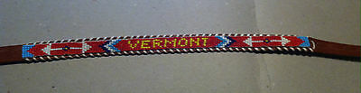 """Vintage Souvenir Beaded Belt Leather With Glass Beads spelling """"VERMONT"""" Size 32"""