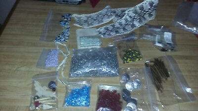 Huge Lot Of Crafting Items Coyote Claws Beads Bone Powwow Vendors Read Descrip
