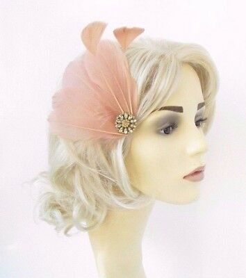 Nude Gold Feather Fascinator Hair Clip Races Headpiece Cocktail Vtg 1920s 4646