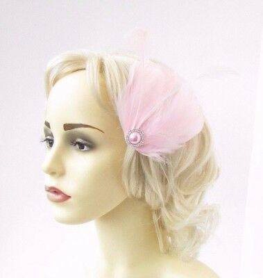 Light Pink Silver Feather Fascinator Hair Clip Races Headpiece Vtg 1920s 4648