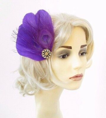 Purple Gold Feather Fascinator Hair Clip Races Wedding 1920s Headpiece Vtg 4649